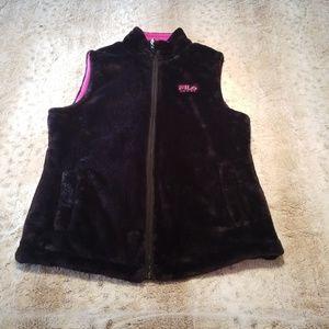 FILA Sport Reversible Black and Pink Fleece Vest
